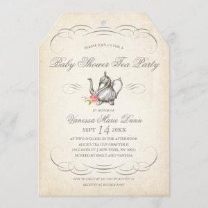 Classy Vintage Tea Party | Baby Shower Invitation