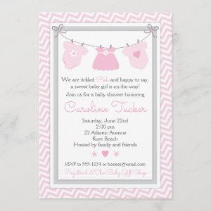 Clothesline Baby Shower  pink and gray
