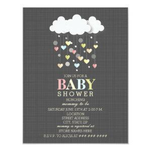 Clouds + Hearts Neutral Baby Shower Invitation