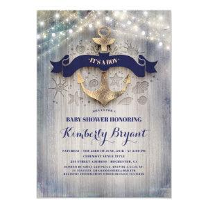 Coastal Nautical Golden Anchor Baby Shower Invitation