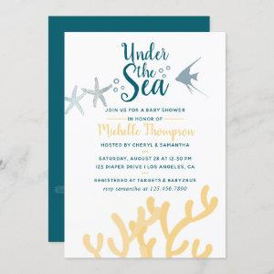 Color trend Under the Sea Ocean themed Baby Shower Invitation