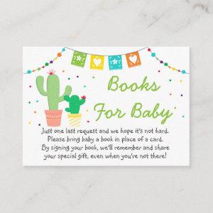 Colorful Fiesta Cactus Baby Shower Book Request Enclosure Card