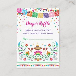 Colorful Mexican Fiesta Diaper Raffle Baby Shower Enclosure Card