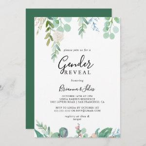 Colorful Tropical Floral Gender Reveal Party Invitation
