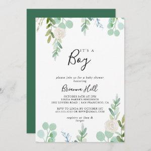 Colorful Tropical Floral It's A Boy Baby Shower Invitation