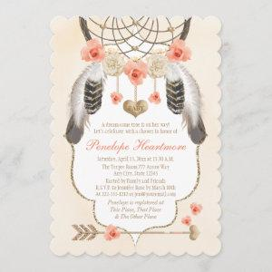 Coral and Gold Dreamcatcher Boho Baby Girl Shower