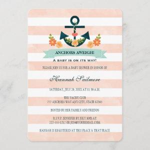 Coral and Navy Nautical Anchor Baby Shower Invitation
