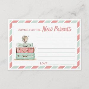 Coral mint advice for the new parents travel theme enclosure card