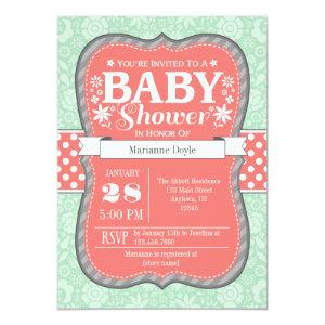 Coral Mint Gray Floral Flower Baby Shower Invite