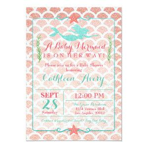 Coral & Teal Mermaid Baby Shower Invitation