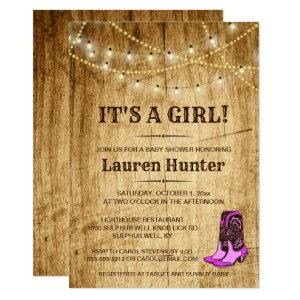 Country Baby Shower Invitation for girl