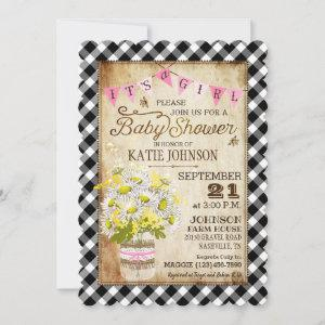 Country Daisies Gingham Check Girl Baby Shower Invitation