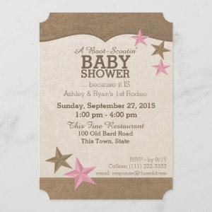 Country Rodeo Western Baby Shower Invitation