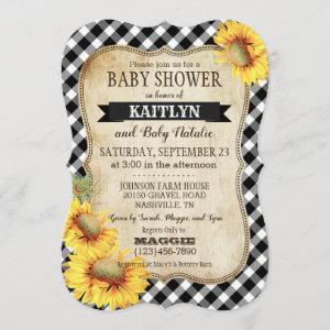 Country Sunflowers and Gingham Check Baby Shower Invitation