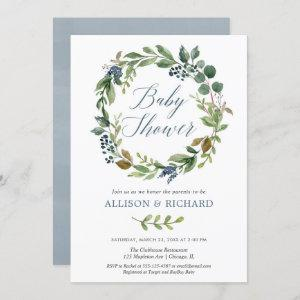 Couples baby shower, gender neutral greenery blue