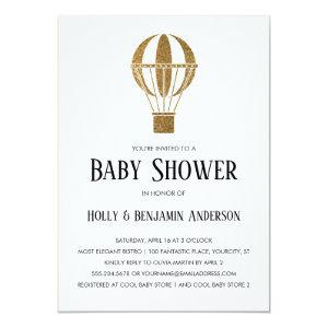 Couples Baby Shower Gold Glitter Hot Air Balloon Invitation