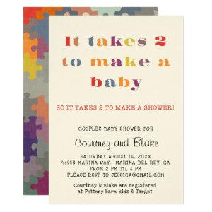 Couples Baby Shower Invitation Ecru