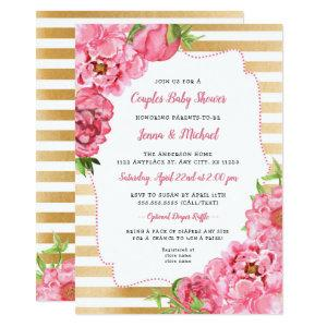 Couples Baby Shower Invitation, girl pink gold Invitation