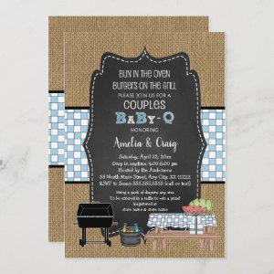 Couples BOY Baby Q, burgers on the grill Invitation