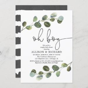 Couples boy baby shower eucalyptus greenery modern invitation