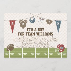 Couples Co-Ed Football Baby Shower  Red