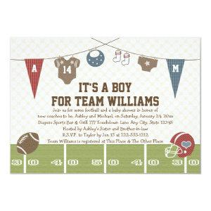 Couples Co-Ed Football Baby Shower Invitations Red