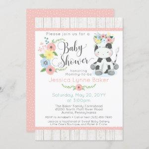 Cow Baby Shower | Cute Floral Calf on Rustic Wood Invitation