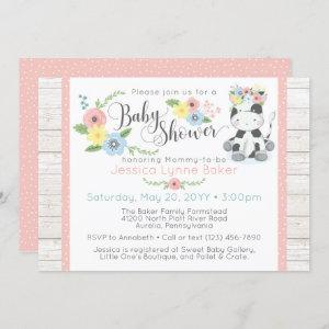 Cow Baby Shower   Cute Floral Calf on Rustic Wood