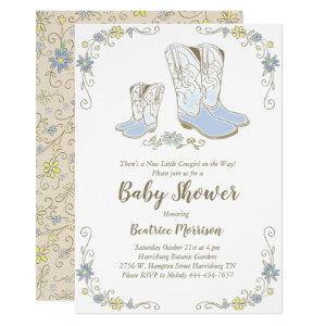 Cowboy Baby Shower Country Western Blue Boy Invitation
