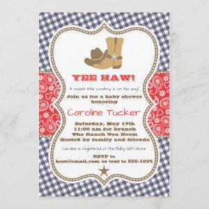 Cowboy Baby Shower  Navy and Red Paisley