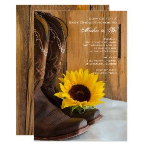 Cowboy Boots Sunflower Country Western Baby Shower Invitation