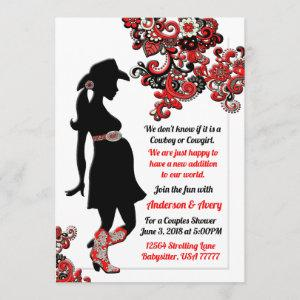 Cowboy Cowgirl Black Red White Couples Baby Shower