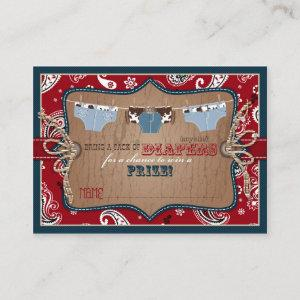 Cowboy Jeans and Chaps Diaper Raffle Ticket Enclosure Card