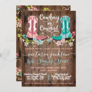Cowboy or Cowgirl Baby Shower Gender Reveal Invita