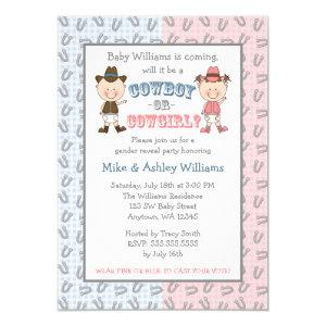 Cowboy or Cowgirl Gender Reveal Party Invitation