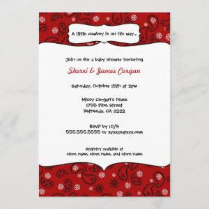 Cowboy Red Paisley Baby Shower Invite