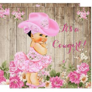 Cowgirl Baby Shower Pink Rustic Wood Girl Brunette Invitation