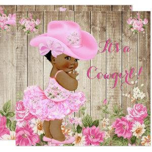 Cowgirl Baby Shower Pink Rustic Wood Girl Ethnic Invitation