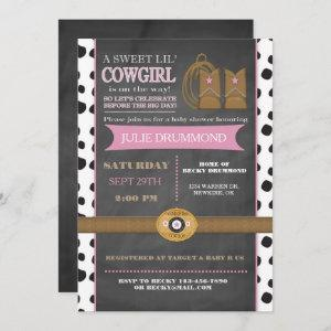 Cowgirl Chalkboard Baby  in Pink