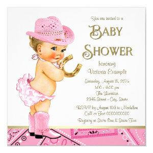 Cowgirl Pink Gold Horseshoe Cowgirl Baby Shower Invitation