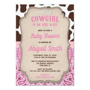 Cowgirl western pink and brown girl baby shower invitation