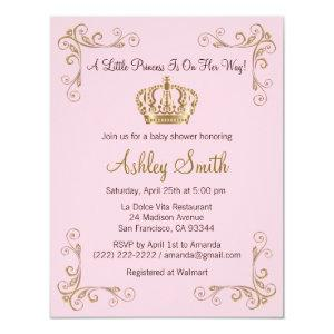 Crown Gold Pink Princess Baby Shower Invitation