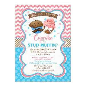 Cupcake or Stud Muffin Gender Reveal Invitation
