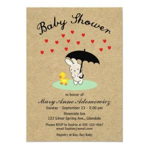 Customizable Bunny and Duck Baby Shower Invitation