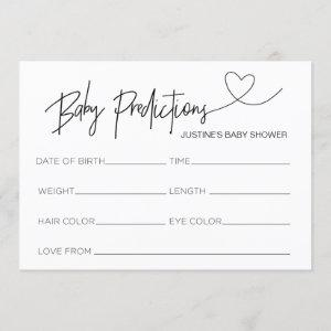 Customized Baby Shower Prediction Card Game Heart