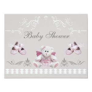 Cute Angel Teddy & Ballet Shoes Baby Shower Invitation