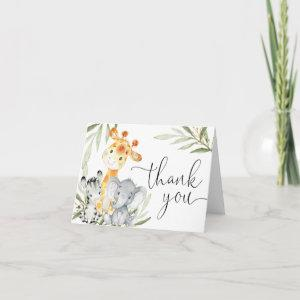 Cute animals gender neutral greenery watercolor thank you card