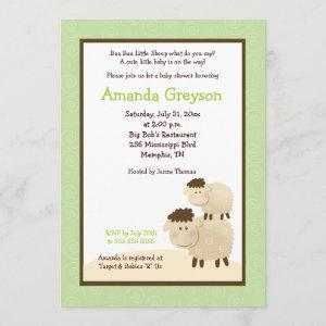 Cute Baa Baa Sheep 5x7 Baby Shower Invite Green