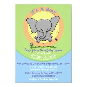 Cute baby elephant cartoon illustration invitation
