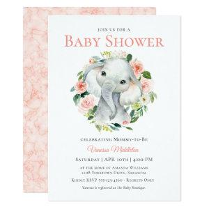 Cute Baby Elephant Pink Floral Baby Shower Invitation